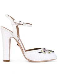 Le Silla Crystal Flower Pumps Women Raffia Leather 36 White