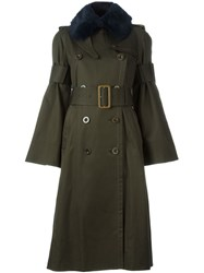 Sacai Fur Collar Trenchcoat Green