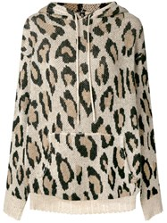 R 13 R13 Leopard Print Hooded Sweater Nude And Neutrals