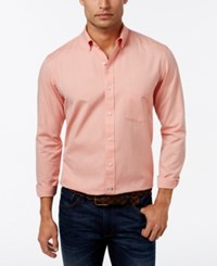 Club Room Men's Solid Long Sleeve Oxford Classic Fit Roasted Pumpkin