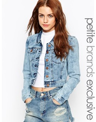 Noisy May Petite Acid Wash Denim Jacket Blue