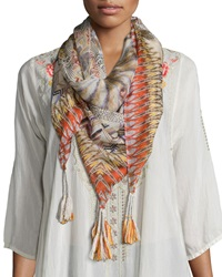 Johnny Was Retro Feather Silk Tassel Scarf