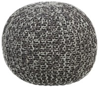 Chandra Textured Contemporary Cotton Pouf Brown Grey