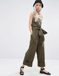 Weekday Strapless Military Jumpsuit Khaki Green