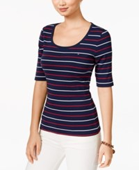 Tommy Hilfiger Striped Scoop Neck Tee Navy Red White Multi