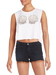 Wildfox Couture Ariel Graphic Cropped Tank Clean White