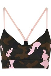 The Upside Zoe Camouflage Print Stretch Sports Bra Army Green