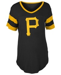 5Th And Ocean Women's Pittsburgh Pirates Sleeve Stripe Relax T Shirt Black Gold
