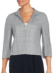 Akris Collared Wool Blend Blazer Zinc