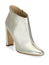Manolo Blahnik Brusta 105 Metallic Leather Block Heel Booties Light Gold