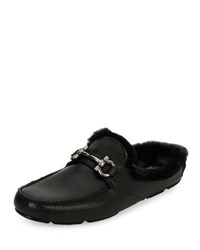 Salvatore Ferragamo Leather Slipper With Shearling Fur Lining Black