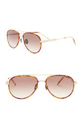 Bottega Veneta 56Mm Aviator Sunglasses Gold Gold Brown