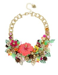 Betsey Johnson Tropical Punch Flower Beaded Necklace Multicolor