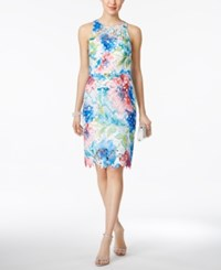 Betsey Johnson Printed Floral Lace Sheath Dress Turquoise Pink White