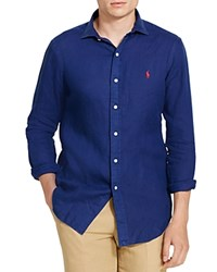Polo Ralph Lauren Linen Classic Fit Button Down Shirt Holiday Navy