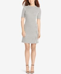 American Living Houndstooth Sheath Dress Black White
