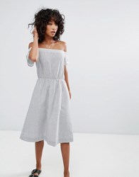 D.Ra Santelle Off Shoulder A Line Dress Seersucker Blue