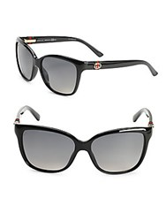 Gucci 56Mm Polarized Wayfarer Sunglasses Black