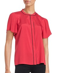 Karl Lagerfeld Pleated Short Sleeved Button Front Top Flirty Fuss