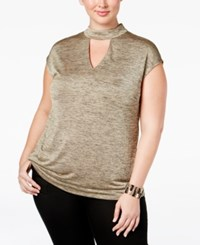 Inc International Concepts Plus Size Mock Neck Keyhole Top Only At Macy's Gold