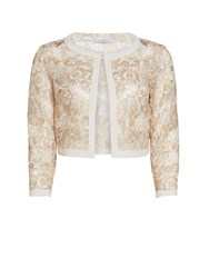 Gina Bacconi Crepe And Floral Embroidered Mesh Jacket Cream