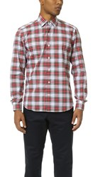 Culturata Point Collar Plaid Shirt Red Tartan