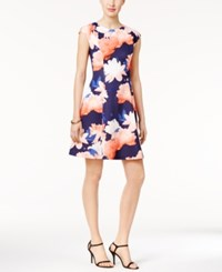 Vince Camuto Floral Scuba Fit And Flare Dress Blue Peach