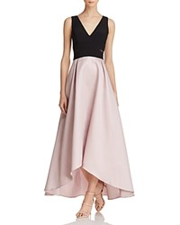 Avery G Color Block High Low Gown Black Mauve