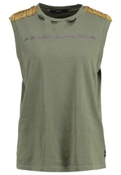 Replay Print Tshirt Olive