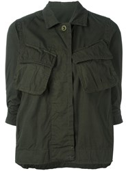 Sacai Crinkled Effect Military Jacket Green
