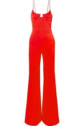 Galvan Phoebe Satin Crepe Jumpsuit Red