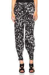 Haute Hippie Drawstring Skinny Silk Pant In Black Abstract