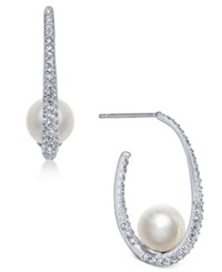 Danori Silver Tone Imitation Pearl And Pave Hoop Earrings Created For Macy's Grey