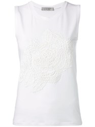D.Exterior Floral Embroidered Tank Top White