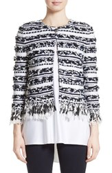St. John Women's Collection Adel Stripe Fringe Jacket