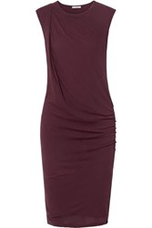 James Perse Nomad Draped Cotton Jersey Dress Burgundy