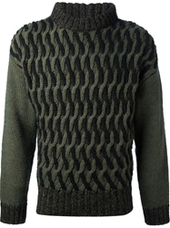Frankie Morello Woven Sweater Green