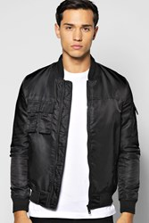 Boohoo Pocket Zip Through Nylon Bomber Jacket Black
