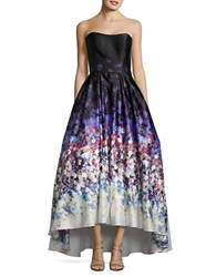 Betsy And Adam Watercolor Print Strapless Ball Gown Black Multi