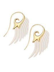 Noor Fares Fly Me To The Moon Ivory And 18K Yellow Gold Wing Earrings Gold Ivory
