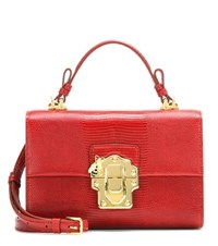 Dolce And Gabbana Lucia Topendo East West Embossed Leather Shoulder Bag Red
