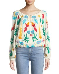 Chelsea And Theodore Embroidered Bracelet Sleeve Peasant Blouse Multi