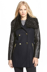 Guess Double Breasted Wool Blend Coat With Faux Fur And Faux Leather Trim Navy