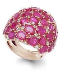 Macy's Ruby 18 Ct. T.W. And Diamond 9 10 Ct. T.W. Dome Ring In 14K Rose Gold