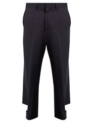 Marni Buttoned Strap Cuff Wool Trousers Blue