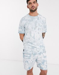 Native Youth Co Ord Oversized T Shirt In Teal Tie Dye Wash Blue