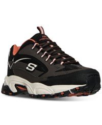 Skechers Men's Stamina Cutback Extra Wide Walking Sneakers From Finish Line Black Red Black