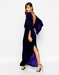 Asos Red Carpet Kaftan Velvet Maxi Dress Navy