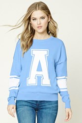 Forever 21 A Graphic Varsity Sweater Blue Cream