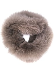 Yves Salomon Fox Fur Collar Grey
